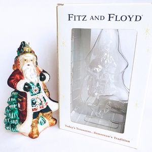 Fitz Floyd Xmas Lodge Santa Christmas Ornament